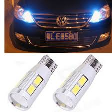 2pcs led t10 w5w canbus car light bulbs with projector lens vw