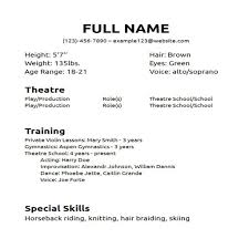 theatrical resume template theater resume format musical theatre template word formidable