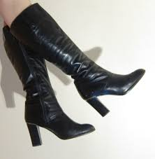 womens high heel boots size 9 vintage 1970s black leather boots 70s knee high boots with high