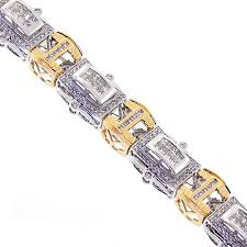 gold tone tennis bracelet images Mens diamond link bracelet 14k two tone gold 6 37 ct 16mm 8 5 quot jpg