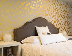 golden stenciled bedroom wall metallic paint stenciling and walls