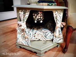 end table dog bed diy repurposed side table to posh pet bed hometalk