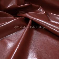 Distressed Leather Upholstery Fabric Faux Leather Bicast Red Colour Heritage Aged Effect Look