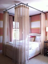 Ceiling Hung Curtain Poles Ideas Ceiling Hung Curtains Around Bed Bedrooms Pinterest