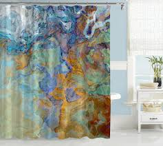 Orange And Blue Curtains Contemporary Shower Curtain Abstract Bathroom Decor