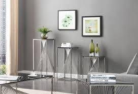 trinity modern 3 piece glass u0026 stainless steel table set