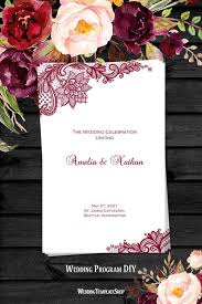 vintage wedding program template wedding program template vintage lace burgundy wedding template shop