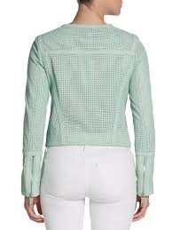 perforated leather motorcycle jacket rachel zoe avery perforated leather jacket in green lyst