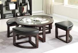 round coffee table with nesting ottomans home table decoration