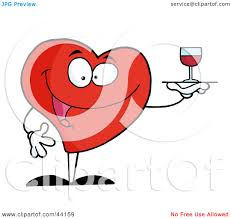 clipart illustration of a happy red heart serving a glass of red clipart illustration of a happy red heart serving a glass of red wine by hit toon