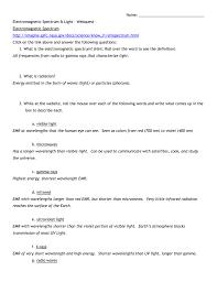 electromagnetic spectrum worksheet worksheets reviewrevitol free