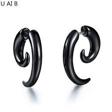 hypoallergenic stud earrings fashion novelty item unisex black bull horn snail earrings