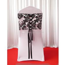 chair tie backs 28cm 80cm white black flocking taffeta chair cover sash with tie