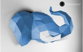 origami wall trophy blue paper elephant decoration for kids room