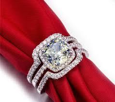 bridal set wedding rings hot bridal set wedding ring set 3 carat g h vvs1 cushion princess