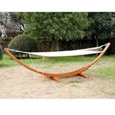 outsunny cypress wooden arc hammock stand with hammock