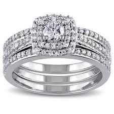 overstock wedding ring sets miadora sterling silver 1 2ct tdw cushion diamond halo