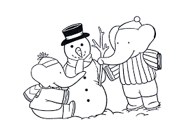 babar making snowman free cartoon coloring pages cartoon