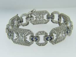 white gold rose bracelet images Art deco 4 20ctw old and rose cut diamond sapphire bracelet in jpg