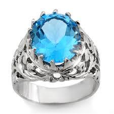 blue man rings images Genuine 10 0 ctw blue topaz men 39 s ring 10k white gold jpg
