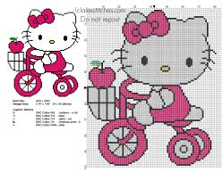 hello kitty with the tricycle free cross stitch pattern free