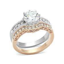 overstock wedding ring sets gold plated vintage engagement wedding ring set clear cz