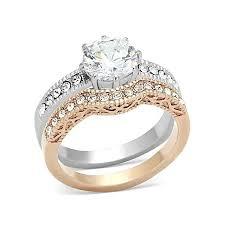 14k gold wedding ring sets gold plated vintage engagement wedding ring set clear cz