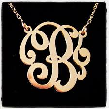 monogram necklace white gold mini 14k gold single initial monogram necklace