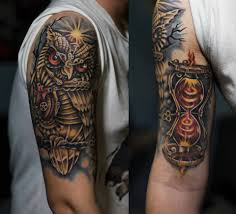 steampunk owl and hourglass tattoo by shizzuro on deviantart