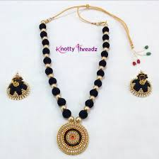 velvet necklace images Black velvet bead necklace with jhumkas png