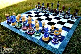 sydney gruber painted chess set chess house