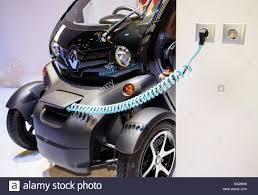 renault twizy an electric car of the brand renault twizy is charged on the