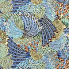 peacock turquoise blue turquoise feather gold metallic fabric by timeless