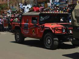kabogo uses armoured military cars to take uhuru around kiambu