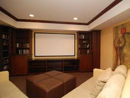 Styled Hidden Home Theater With Sliding Wooden Door Behind Stone