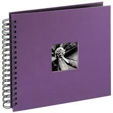 Spiral Bound Photo Album Bound Album Scrapbook 28 X 24 Cm 50 Black Pages Purple 100 Photos