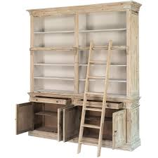 white washed library bookcase with ladder shabby chic