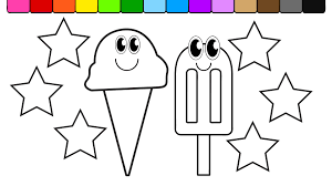 learn colors for kids and color this ice cream and rainbow star