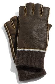 ugg sale gloves lyst ugg genuine shearling fingerless gloves in brown for