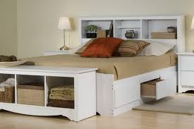 queen bookcase headboard white with storage bed interalle com