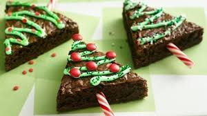 christmas tree brownies with candy cane trunks