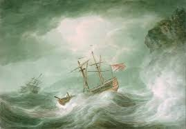 ship in a a with an anchored ship in distress rocky coast