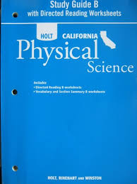 california physical science study guide b ca p 0030993989
