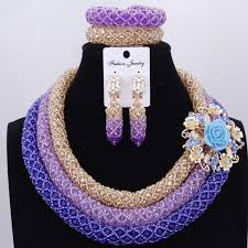 crystal bead necklace jewelry images Lilac blue gold nigerian wedding african beads jewelry set crystal jpg