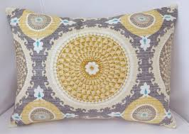 Medallion Pillow Cover Grey Yellow Pillow Decorative Throw