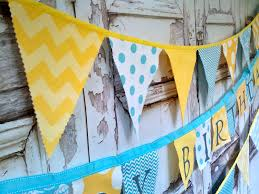 International Bunting Flags Fabric Bunting Party Banner Flags Birthday Banner Decor Yellow