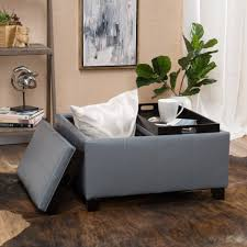 leather tray for coffee table justin 2 tray top gray leather ottoman coffee table w storage