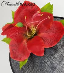 giant red flower black royal ascot hat