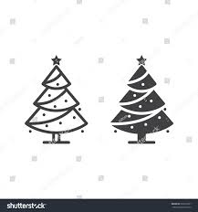 christmas tree line icon decorated conifer stock vector 522015661