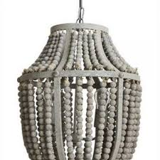 bead chandelier gray aged iron and wooden bead chandelier hanging light fixture
